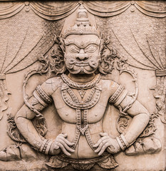 Giant bas-relief sculpture from Ramayana, one of the great Hindu