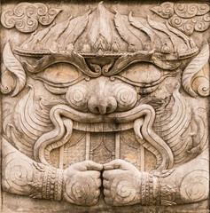 Hanuman bas-relief sculpture from Ramayana, one of the great Hin