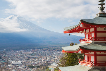 Shureito pagoda with Mountain Fuji