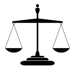 Justice scales silhouette - balanced, isolated