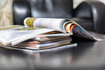 pile of magazines at home