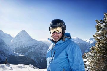 portrait of man - winter in the alps