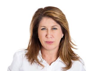 Headshot skeptical middle aged woman isolated on white