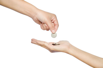 hand give money