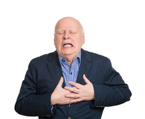 Portrait Senior man having Chest pain, white background