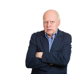Pissed off older man, grumpy full of anger on white background