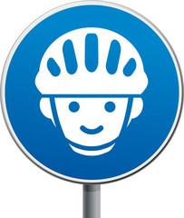 Schild blau Fahrradhelm Kinder