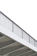 Steel bridge girder span, blue grey metal pillar rails, modern