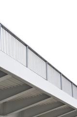 Steel bridge girder span, blue grey metal pillar rails, modern