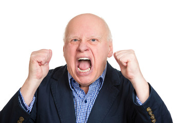 Portrait, headshot senior, old, angry yelling, screaming man