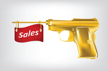 Illustration of golden pistol shutting a flag with sales