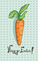 Illustration of Happy Easter Carrot on Blue Background
