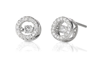 Diamond Halo floating stud earrings