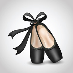 Illustration of realistic black ballet pointes shoes