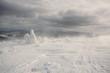 Leinwanddruck Bild - Snowstorm. Carpathian, Ukraine.