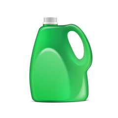Green Plastic Jug On White Background Isolated