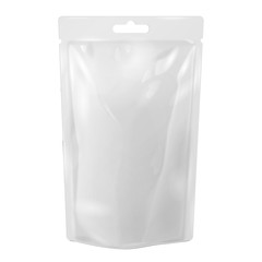 White Blank Foil Food Or Drink Bag Packaging With Hang Slot