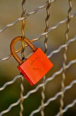 Padlock of love with heart shape