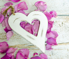 Love: Heart and rose petals :)