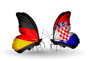 Two butterflies with flags Germany and Croatia