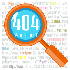 Error 404 concept with magnifier