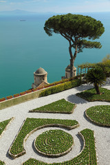 landscape with flowerbeds in villa Rufolo in Ravello