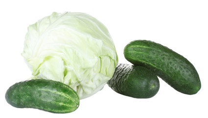 Cabbage and cucumbers isolated on white