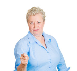Senior angry woman, gesturing with hand you get zero