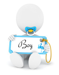 3d white people baby boy holding an name tag