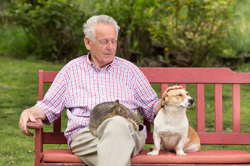 Senior man with pets
