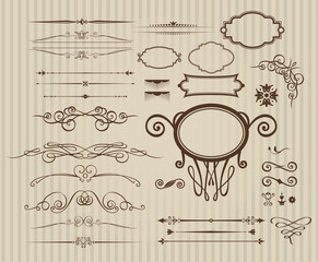 Vector set of vintage calligraphic elements and page decoration