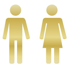 Golden male and female sign