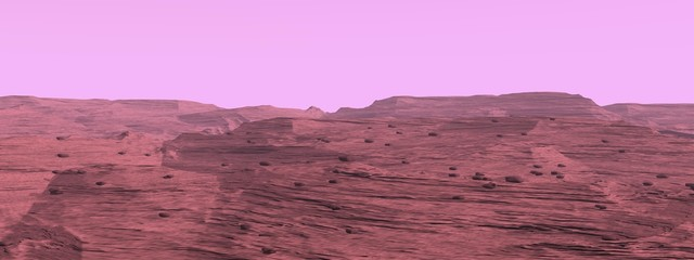 Mars surface landscape - 3D render