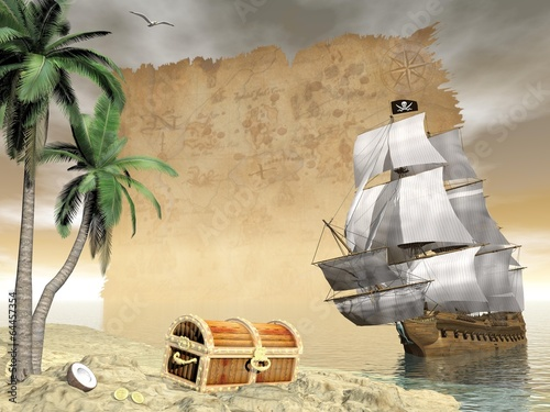 Pirate ship finding treasure - 3D render
