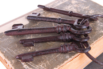 Old keys on old books close up
