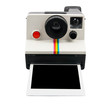 Instant camera with photo coming out - 64457933