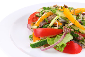 Beef salad on plate close up