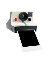 Instant camera with instant photo coming out