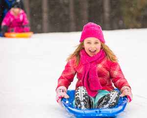 Sledding Girl - Expressing Joy
