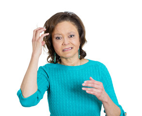 Confused woman with memory problems on white background