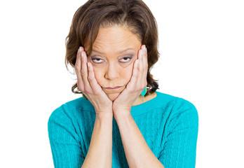 Headshot Depressed senior woman on white background