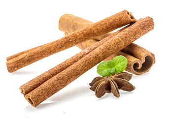 Cinnamon with mint leaf and star-anise