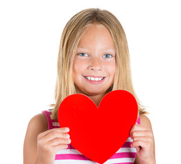 Adorable kid holding red heart on white background