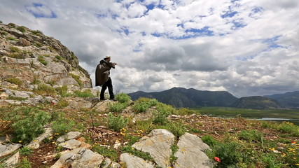 hiker looking at view very cloudy day