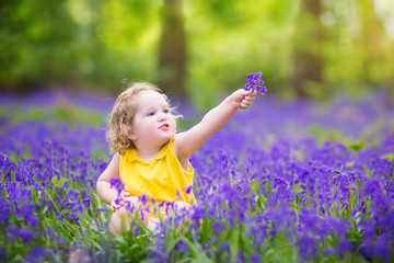 Adorable toddler girl in bluebell flowers in spring meadow