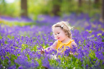 Cute toddler girl sitting in bluebell flowers in spring meadow