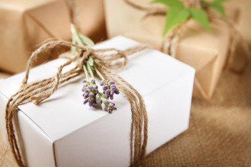 Handmade Gift Box with Lavender Sprig