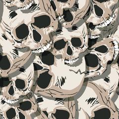 Grunge seamless  skulls pattern