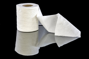 White patterned toilet paper in a roll