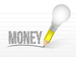 money and pencil light bulb illustration design